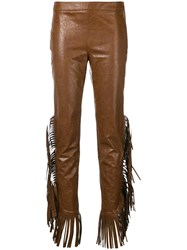 Giamba Fringed Sides Trousers Brown