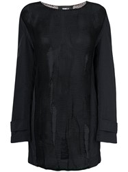 Yang Li Sheer Coat Sleeve Sweater Black