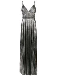 Marchesa Notte Pleated Metallic Gown