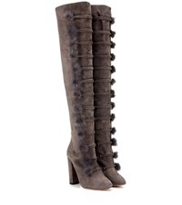 Aquazzura Ulyana 105 Fur Trimmed Suede Over The Knee Boots Grey