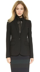 Veronica Beard Classic Jacket With Leather Dickey Black
