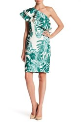 Alexia Admor Ruffle One Shoulder Floral Dress Green