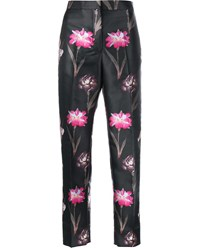 Rochas Floral Print Silk Blend Cropped Trousers Black Multi Coloured