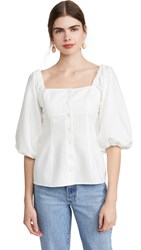 Wayf Aberdine Puff Sleeve Button Front Top White