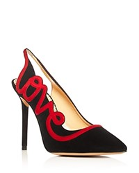 Charlotte Olympia Love High Heel Slingback Pumps Black Real Red