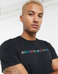 Good For Nothing Muscle T Shirt With Rainbow Branding In Black