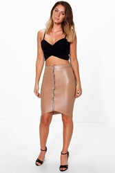 Paola Zip Front Leather Look Midi Skirt