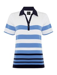 Tigi Short Sleeve Stripe Polo Top Blue