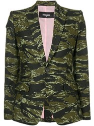 Dsquared2 Camouflage Print Blazer Green