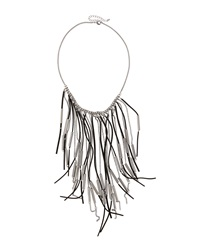 Fragments For Neiman Marcus Fragments Suede Fringe Drop Necklace Black