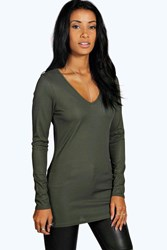 Boohoo Shiny Rib V Neck Top Khaki