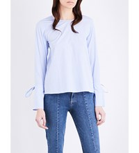 Moandco. Striped Cotton Poplin Blouse Blue And White