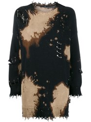 R 13 R13 Distressed Sweater With Safety Pins Black
