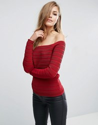 Supertrash Tarles Ribbed Bandeau Off Shoulder Top Red