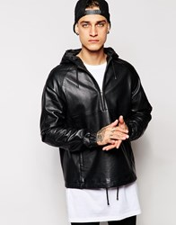 Asos Leather Hooded Pullover Jacket Black