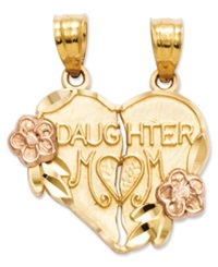 Macy's 14K Gold And 14K Rose Gold Charm Break Apart Mother And Daughter Charm