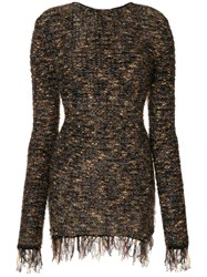 Balmain Frayed Hem Mini Dress Cotton Nylon Polyamide Mohair Brown