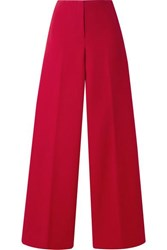 Theory Cotton Twill Wide Leg Pants Red