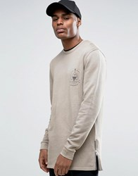 Asos Longline Sweatshirt With Chest Print And Side Zips And Wash Clam Beige