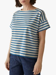 Toast Stripe Cotton Boxy T Shirt Turkish Sea Blue Chalk