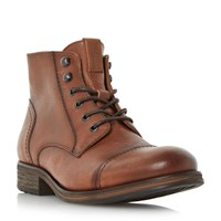 Tommy Hilfiger Dillan Stitched Detail Lace Up Boots Tan