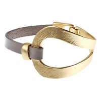 Adele Marie Open Work Leather Bracelet Taupe Gold