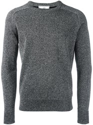 Ami Alexandre Mattiussi Metallic Knit Crew Neck Sweater Grey
