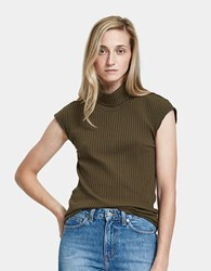 Which We Want Ribbed Turtleneck Top Olive