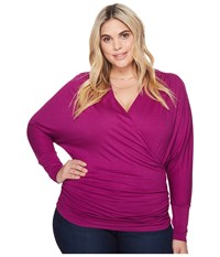 Kiyonna Femme Faux Wrap Top Magenta Women's Long Sleeve Pullover Pink