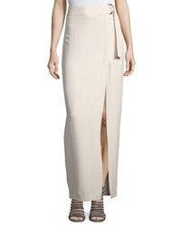 Brunello Cucinelli Crepe Maxi Skirt W D Ring Belt Cream