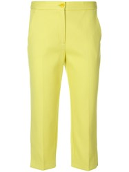 Boutique Moschino Cropped Tailored Trousers Yellow And Orange