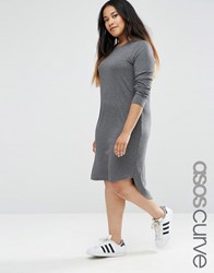 Asos Curve Slouch Dress In Rib With Curved Hem Charcoal Marl Grey