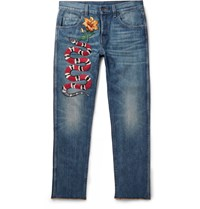 Gucci Slim Fit Embroidered Stonewashed Denim Jeans Blue