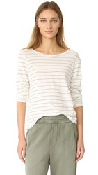 Current Elliott The Long Sleeve Boyfriend Tee Dirty White Runaway Stripe
