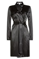 Diane Von Furstenberg Satin Trench Coat Black