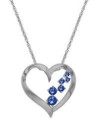 Lord And Taylor 14Kt. White Gold And Sapphire Heart Pendant Necklace Sapphire White Gold