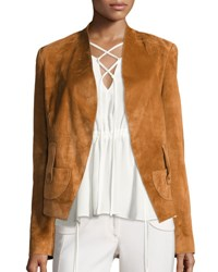Derek Lam Suede Belted Wrap Jacket Brown