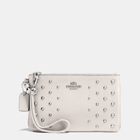 Coach Small Wristlet In Polished Pebble Leather With Ombre Rivets Silver Chalk