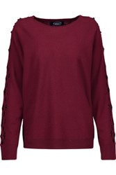 Magaschoni Cutout Embellished Cashmere Sweater Burgundy