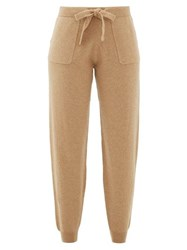 Allude Tapered Leg Wool Blend Track Pants Camel
