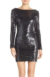 Women's Dress The Population 'Lola' Backless Sequin Minidress Deep Charcoal