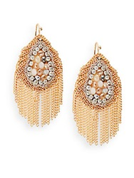 Saks Fifth Avenue Beaded Chain Fringe Earrings Gold