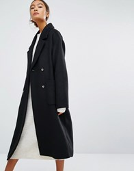 Monki Double Breasted Over Coat Black