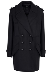 Isabel Marant Karly Midnight Blue Wool Blend Coat Navy