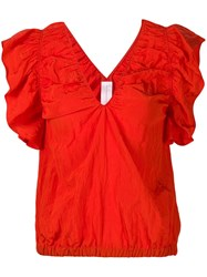Victoria Beckham Creased Effect Blouse Red