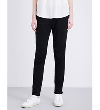 James Perse Ruched Detail Skinny Mid Rise Twill Trousers Black