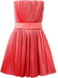 Roberto Capucci Pleated Strapless Dress Pink And Purple