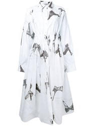 Natasha Zinko Abstract Print Shirt Dress Women Cotton Polyester 40 Grey