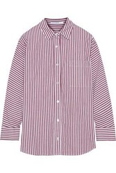 Stateside Woman Striped Cotton Broadcloth Shirt Burgundy