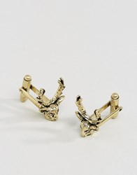 Asos Cufflinks In Burnished Gold With Stag Design Gold